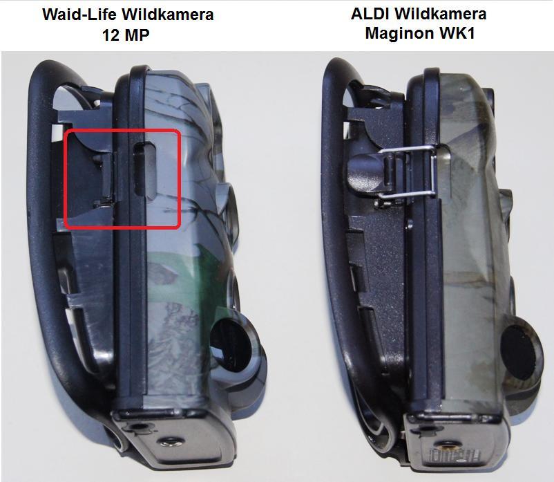 """Das ohnehin schon """"lausige"""" Gehäuse der ALDI Wildkamera (rechts) wurde bei der Waidlife Wildkamera (links) noch einmal durch die Einsparung des linken Verschlusses noch einmal verschlechtert - Bild: Wildkamera-Test.com"""