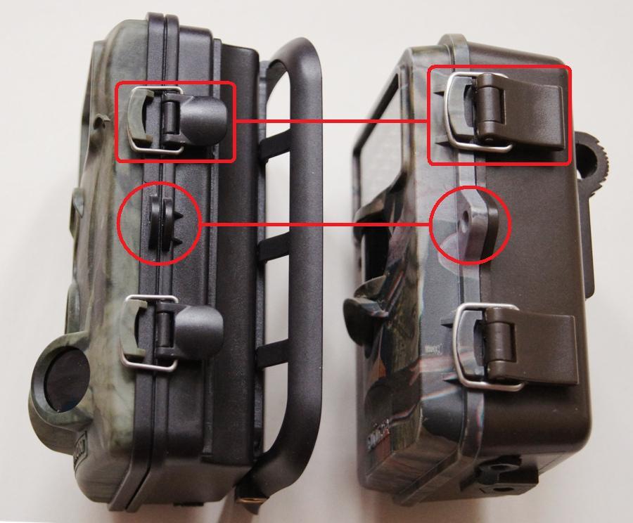 Direktvergleich der Gehäuse: das Gehäuse der ALDI WK3 Wildkamera (links) erreicht bei weitem nicht die Qualität der Dörr SnapShot Mini - Bild: Wildkamera-Test.com