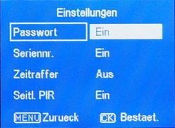 Im Menü (hier die ALDI Wildkamera Maginon WK2) läßt sich bei den meisten Wildkameras ein PIN-Code eingeben - Bild: Wildkamera-Test.com