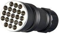 Schwarzlicht Lampe, unter deren Licht UV-Marker sichtbare werden