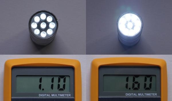 Der Zusammenhang zwischen Spannung und Helligkeit an einer LED-Taschenlampe erklärt: Die Lampe links ist mit