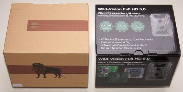 No Name links, Marke rechts: bereits bei der Verpackung beginnen die Unterschiede - Bild: Wildkamera-Test.com