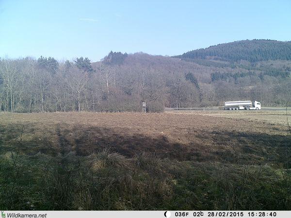 Nur zum Beweis: der nächste LKW wird exakt an der selben Stelle abgelichtet - Bild: Wildkamera-Test.com