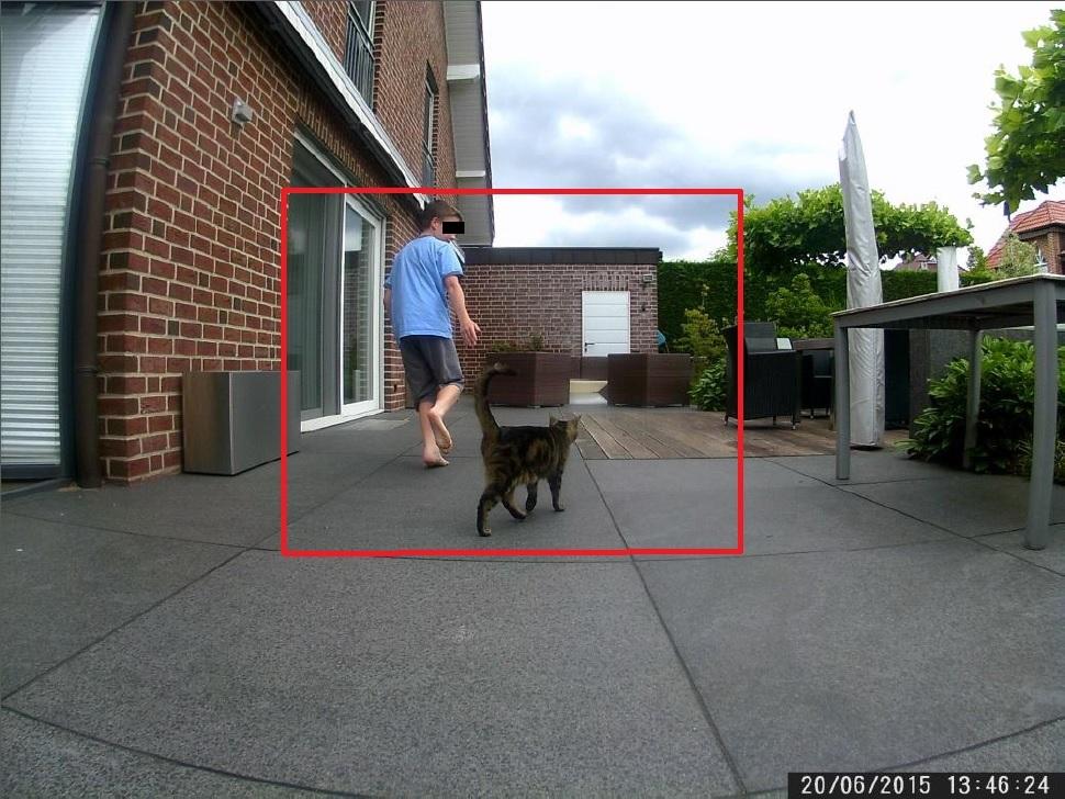 Die LIDL Wildkamera verwendet eine Weitwinkeloptik. Zum Vergleich: eine reguläre Wildkamera nimmt den inneren Bereich des roten Kastens auf - Bild: Wildkamera-Test.com