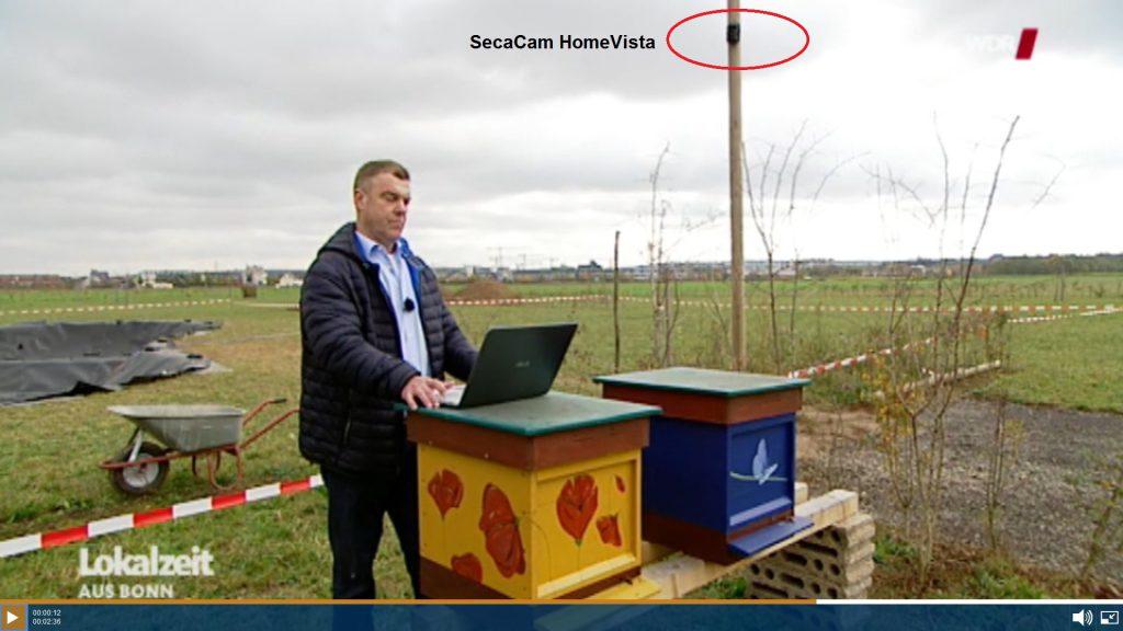 In Sankt Augustin Menden hat ein Dieb bereits mehrfach 2 Bienenstöcke ausgeraubt und den frischen Honig samt Waben entwendet. Nun hat ihn eine SecaCam HomeVista erwischt. Die Polizei ermittelt - Screenshot: WDR Lokalzeit Bonn